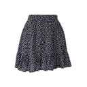 Dark Blue Background All Over White Flora Elastic Waist Short Skirt