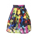 Black&White Checker&Graffiti Print Organza Pleated Skirt