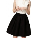 Black Bow Tie High Waist Midi A-line Skirt