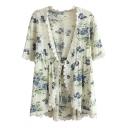 Green Flora Print Short Sleeve Lace Trim Kimono