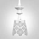 "5.9""Wide White Craved Stainless Steel Floral Designer Pendant Light"