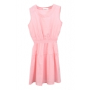Pink Sleeveless Elastic Waist A-line Dress