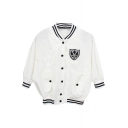 White 3/4 Sleeve Micky Back Print Crop Baseball Jacket