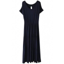 Dark Blue Short Sleeve Casual Slim Longline Dress