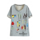 Cartoon Tools Embroidered T-Shirt
