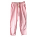 Pink Drawstring Waist Casual Straight Leg Pants