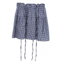 Blue Gingham Pattern Mini Suspender Skirt