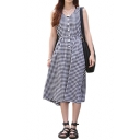 Plaid Single-Breast Round Neck Sleeveless Dress