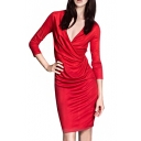 Surplice Neck Pleated Detail 3/4 Sleeve Slim Dress