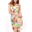 Yellow Background Ink Color Flower Print Square Neck Sheath Dress