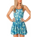 Blue Cute Robot Print All Over Style A-line Tank Dress