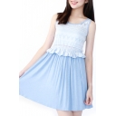 Lace Inserted Fitted A-Line Pleated Sun Dress