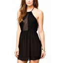 Halter Black Plain Sleeveless Chiffon Dress