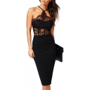 Black Halter Lace Inserted Sheer Fitted Midi Dress