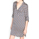 Notched Lapel Vintage Circle Geometry Print Shirt Style Dress
