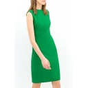 Green Sleeveless Slim Chiffon Dress