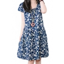Vintage Print Round Neck Short Sleeve Pleated Dress