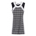 Color Block Plaid Print Knit Front Round Neck Dress