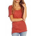 Brick Red Single Pocket Distressed T-Shirt