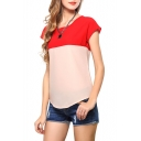 Red&Khaki Block Short Sleeve Chiffon Top