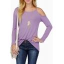 Purple Plain One Shoulder Off Long Sleeve T-Shirt