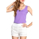 Purple Slim Chiffon Tanks