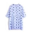Light Blue Striped Star Print Short Sleeve Shirt