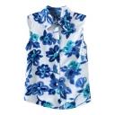 White Background Blue Ink Color Flora Sleeveless Chiffon Shirt