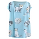 Blue Background White Kitten Short Sleeve T-Shirt