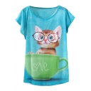 Blue Background Cute Kitten&Cup Short Sleeve T-Shirt