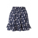 Royal Blue Background Fresh Flora Elastic Waist Rural Style Short Skirt