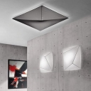 Bold Design Elastic Fabric Square Classic Designer Flush Mount Ceiling Light