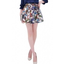 White Background 3D Butterfly Print Pleated A-line Skirt