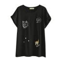 Black Short Sleeve Kitty Embroidered Midi T-Shirt