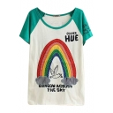 Green Short Sleeve Rainbow&Bird&Letters Embroidered T-Shirt