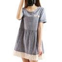 Gray Short Sleeve Lace Hem Button Embellish Swing Dress