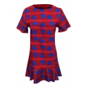 Red Background Blue Heart Geometry Short Sleeve Ruffle Hem Dress