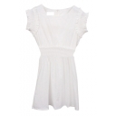 White Sleeveless Scalloped Cuff A-line Mini Dress