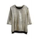 Cool Style Round Neck 3/4 Sleeve High-low Hem Tee