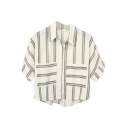 Gray Double Stripe Panel Short Sleeve Crop Chiffon Shirt