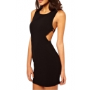 Back Cross Spaghetti Tank Dress in Black