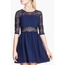 Dark Blue Elastic Lace Insert 3/4 Sleeve Mini Babydoll Dress