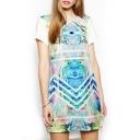 Floral Wave Print Short Sleeve High Low Hem Dress