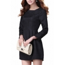 Long Sleeve 3D Embroidered Jacquard Style Pleated Dress