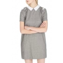 Plaid Peter Pan Collar Short Sleeve Dress