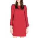 Red 3/4 Sleeve Boat Neck Mini Dress