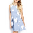 Blue Heart Print Gathered Waist Tank Dress