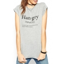 Gray Funny Letter Print Short Sleeve Fitted T-Shirt