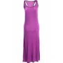Purple Modal Racerback Tanks Longline Dress