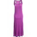 Purple Modal Racerback Tanks Longline Dress